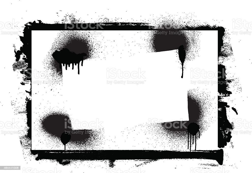 stencil and grunge inky frame vector art illustration