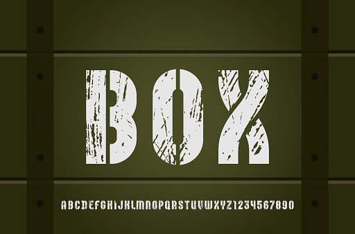 Stencil army font, condensed bold military alphabet, modern geometric modular letters and numbers, book symbols for newspaper headline or your street poster design, vector illustration