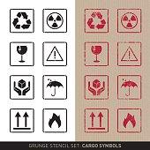 Stencil cargo symbols (plain and grunge versions)