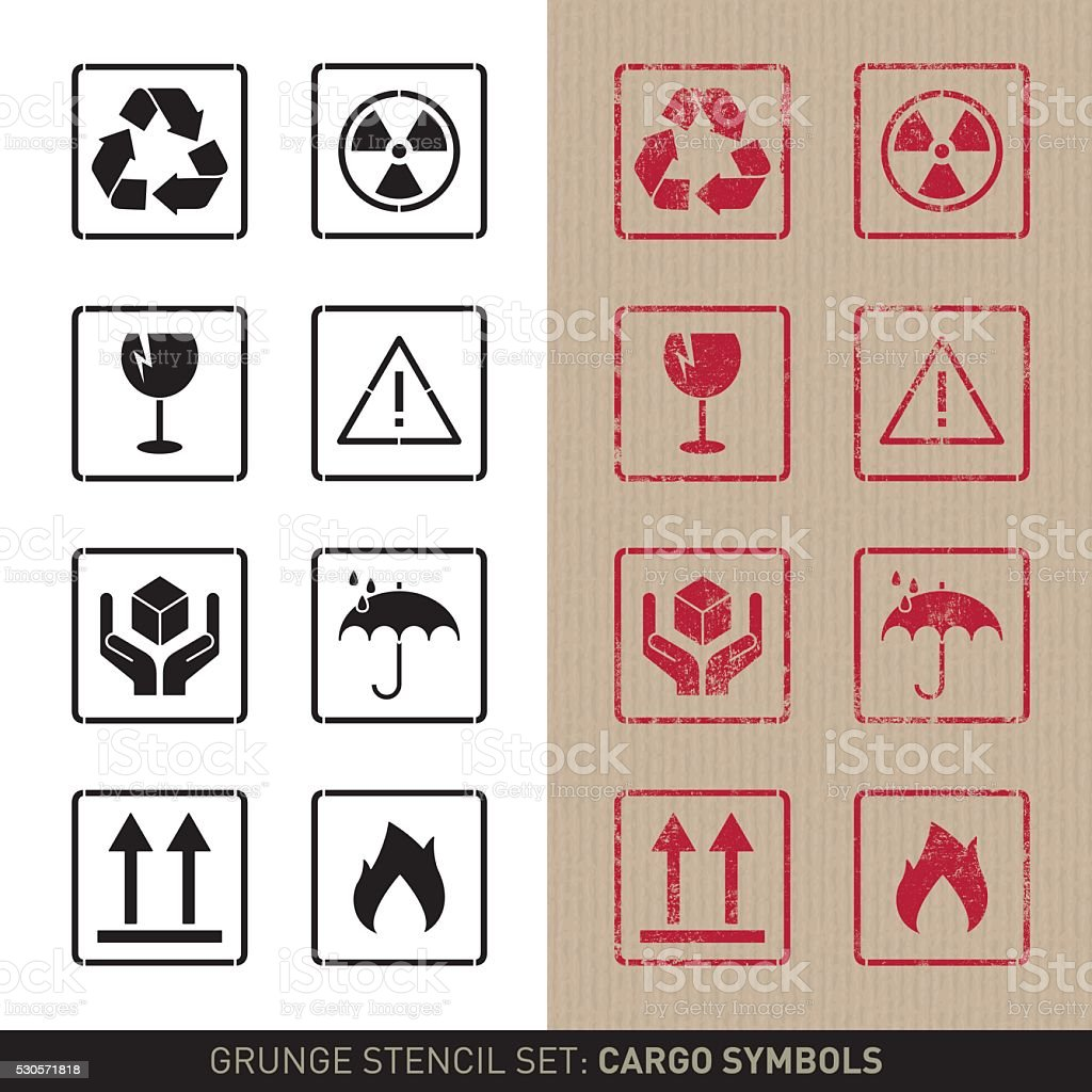 Stencil cargo symbols (plain and grunge versions) vector art illustration