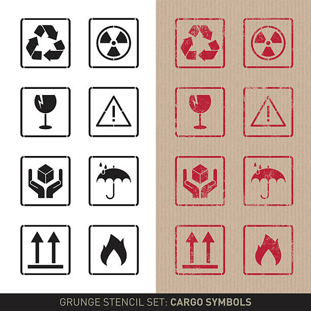 Stencil cargo symbols (plain and grunge versions) Set with eight cargo symbols, very common in packaging. The set includes symbols for recycling, handle with care, keep dry, this way up, etc. The symbols are designed as stencil forms in a plain black and white version and a grunge red stamp version on brown pack paper. fragility stock illustrations