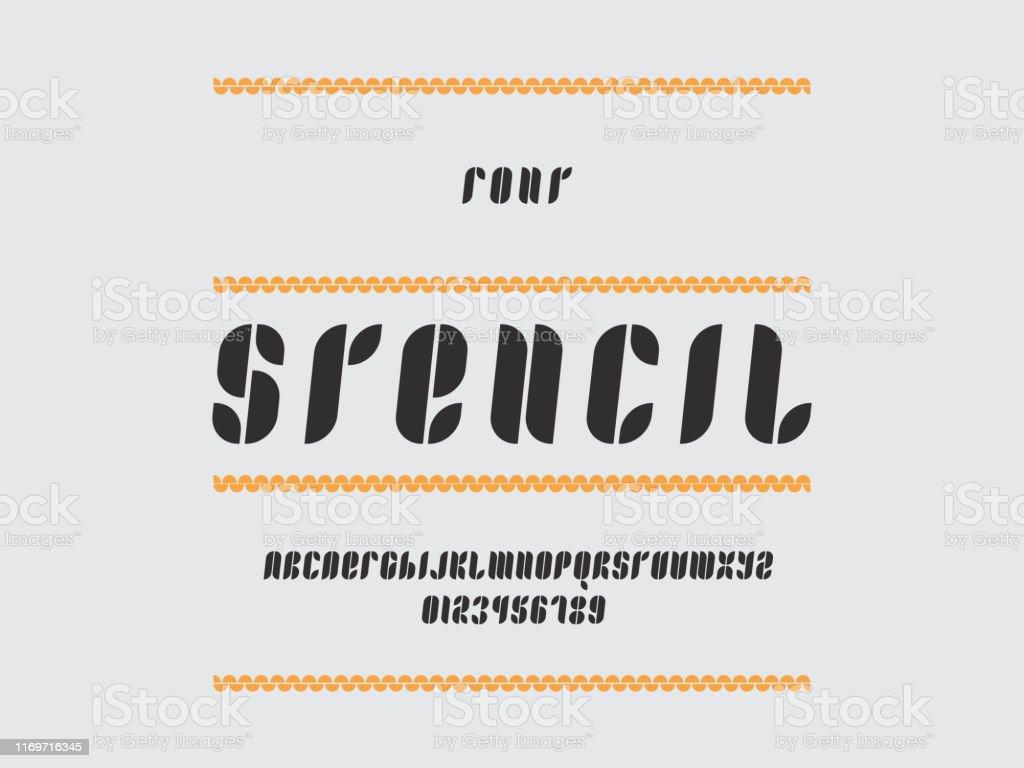 Stencil Cursive Font Vector Stock Illustration Download Image Now Istock