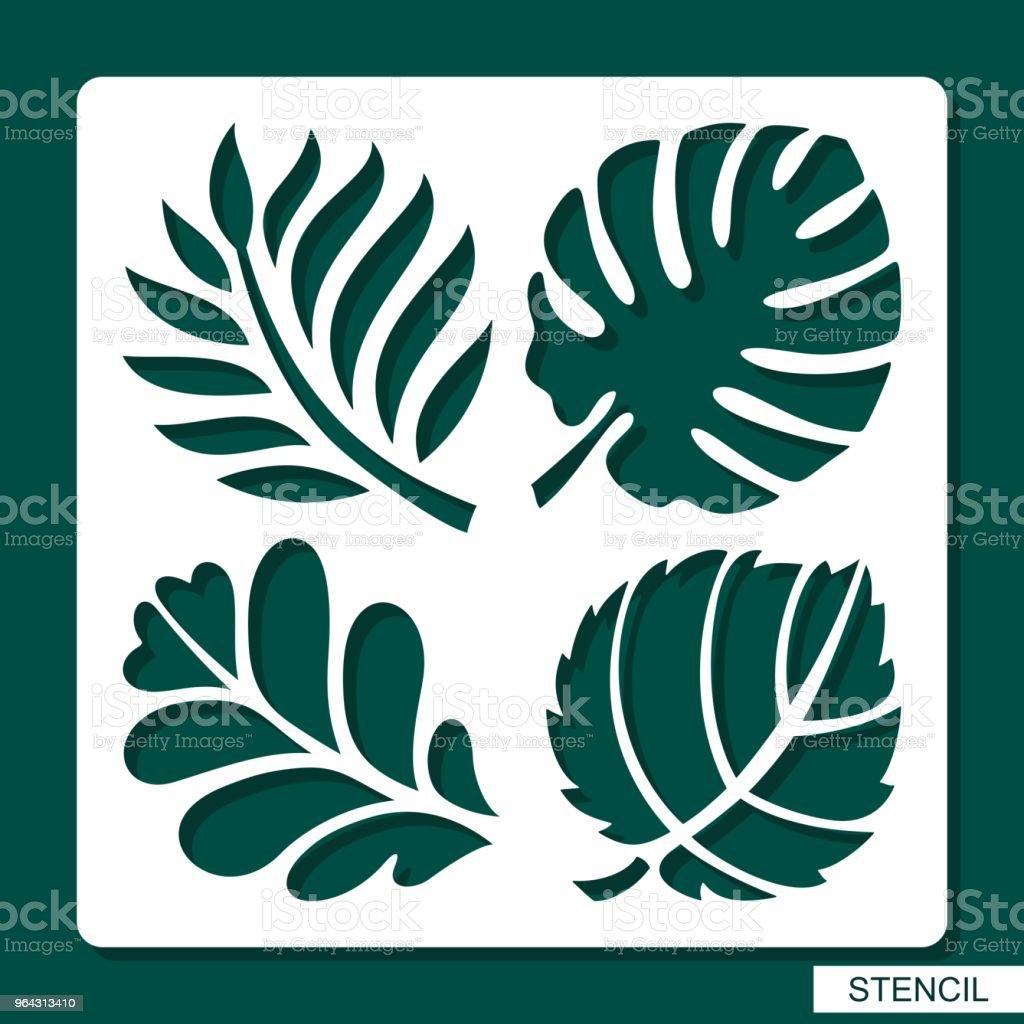 Stencil. Floral theme. Silhouettes of tropical palm leaves, monstera, jungle leaves, leaves maple, oak, aspen. vector art illustration