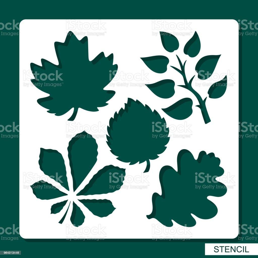 Stencil. Flower theme. Silhouettes of leaves of maple, oak, aspen, chestnut. vector art illustration