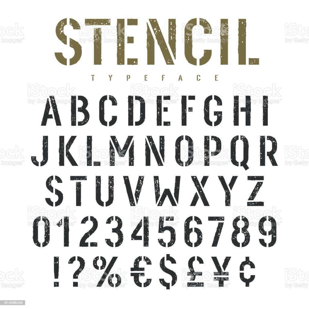 Stencil Font 002 Stock Illustration