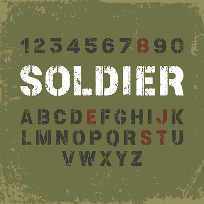 Stencil font in military style