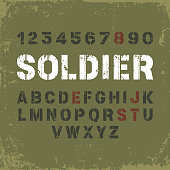 Stencil font in military style on grunge background
