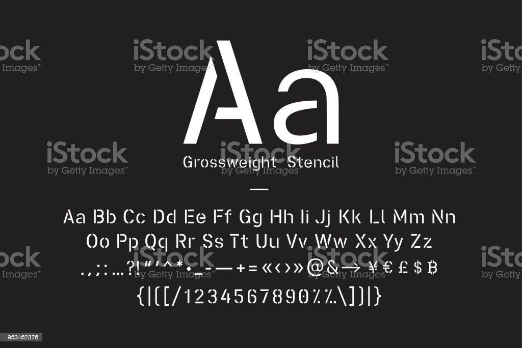 Fuente de la plantilla con mayúsculas y minúsculas, signos de puntuación, números y glifos símbolo - ilustración de arte vectorial
