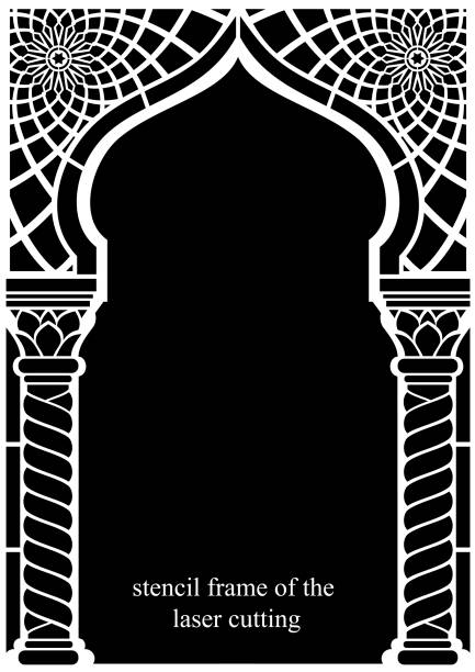 stencil frame of the laser cutting - architecture borders stock illustrations