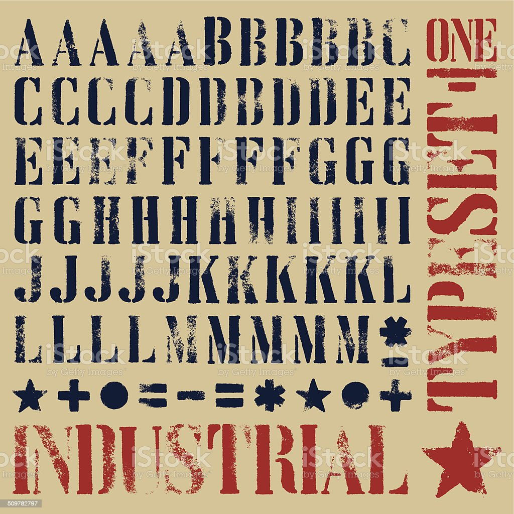 Stencil grunge typeset vector art illustration