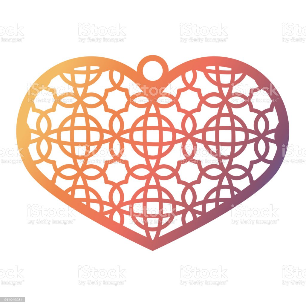 stencil lacy heart with carved openwork pattern template for