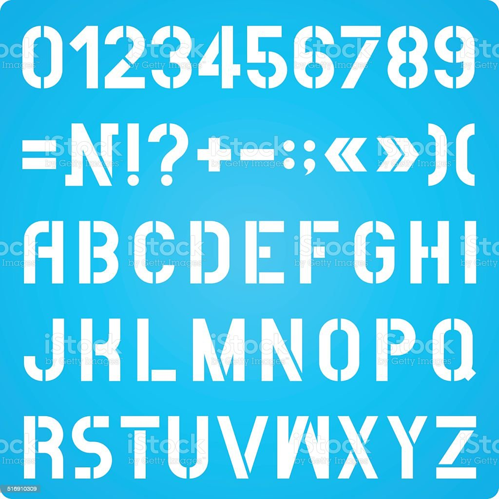 Stencil Letters And Numbers Stock Illustration - Download Image Now
