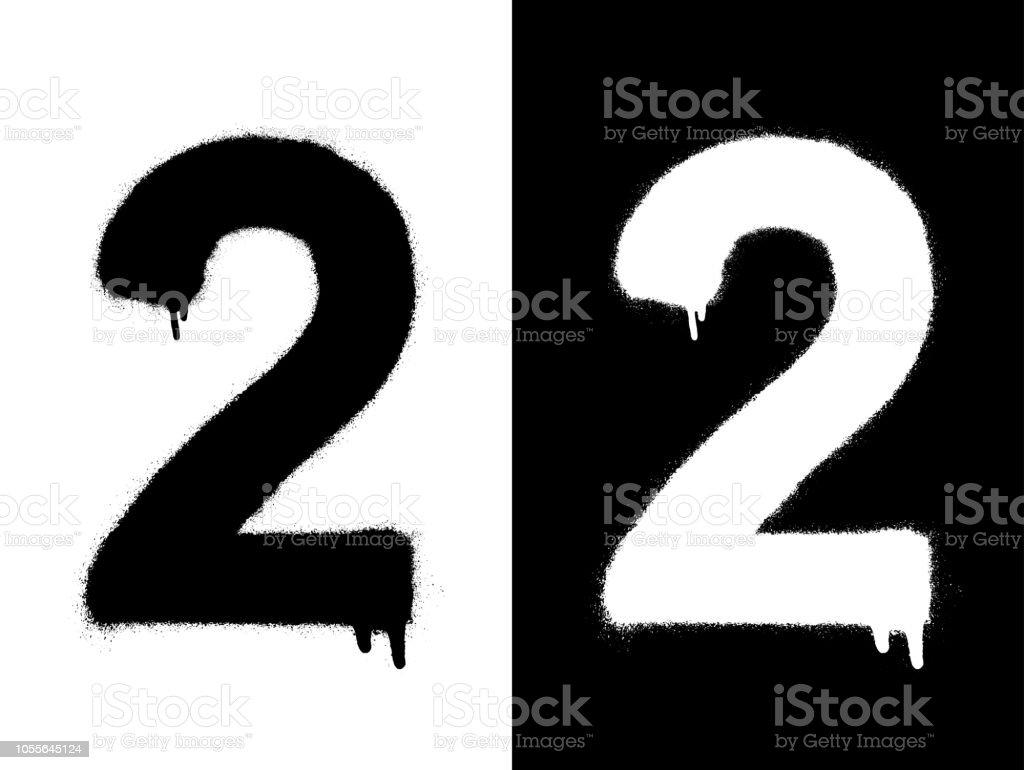 Sablon Rakam 2 Ve Damla Boya Siyah Beyaz Siyah Uzerine Beyaz
