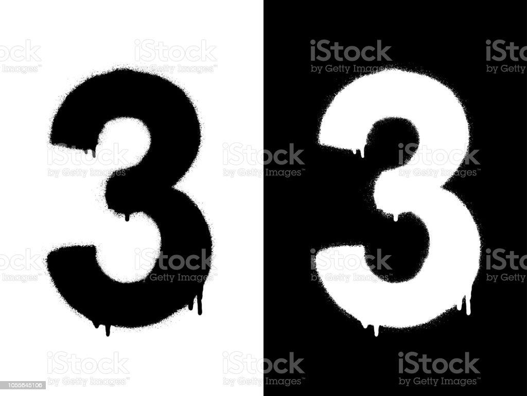 Sablon Rakam 3 Ve Damla Boya Siyah Beyaz Siyah Uzerine Beyaz
