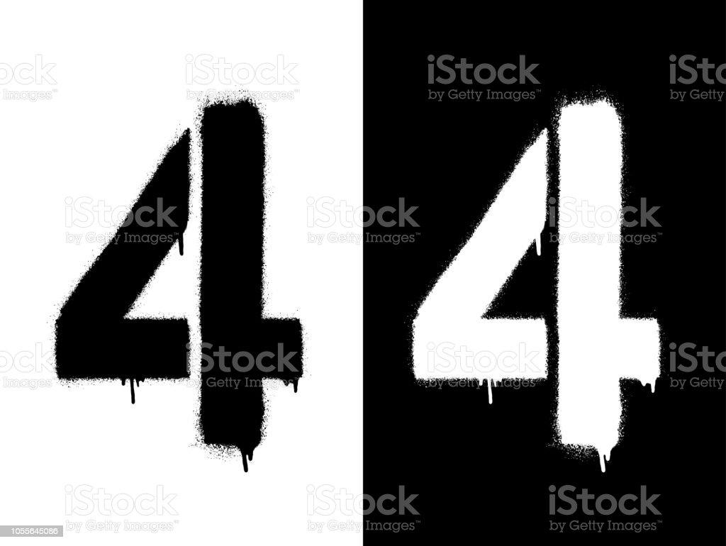 Sablon Rakam 4 Ve Damla Boya Siyah Beyaz Siyah Uzerine Beyaz