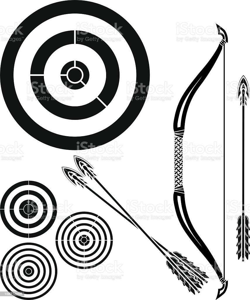 stencil of bow, arrows and targets royalty-free stock vector art