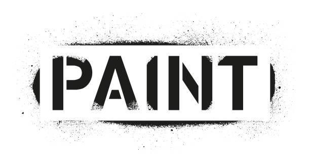Stencil Paint inscription. Black graffiti print on white background. Vector design street art Stencil Paint inscription. Black graffiti print on white background. Vector design street art aerosol can stock illustrations