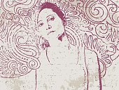 Portrait of woman with doodle background on brick wall.