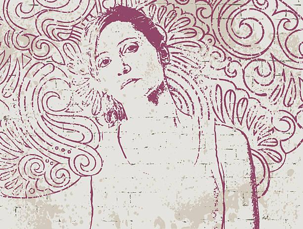 stencil portrait on hand drawn wall - kindersprüche stock-grafiken, -clipart, -cartoons und -symbole