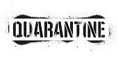 Stencil Quarantine inscription. Black danger graffiti print on white background. Vector design street art