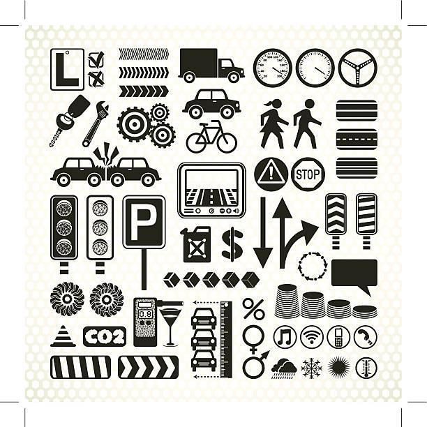 bildbanksillustrationer, clip art samt tecknat material och ikoner med stencil road traffic infographic icons - data visualization co2