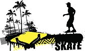 stencil skate scene with rider and summer palms