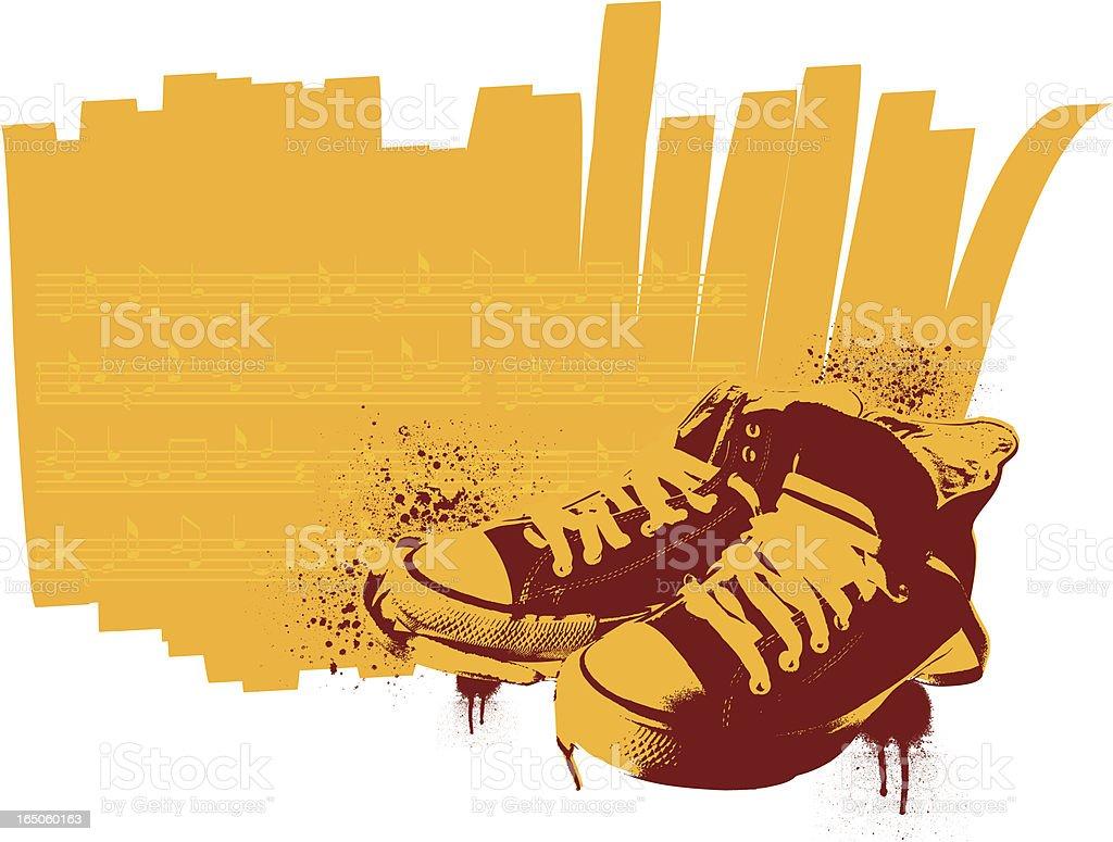 stencil sneakers vector art illustration