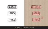 """Set with three stencil stamps for general instructions saying: """"Close"""", """"Open"""" and """"Free"""". The set includes renderings in a plain black and white and a red grunge stamp version in on brown pack paper and additional grunge structure."""