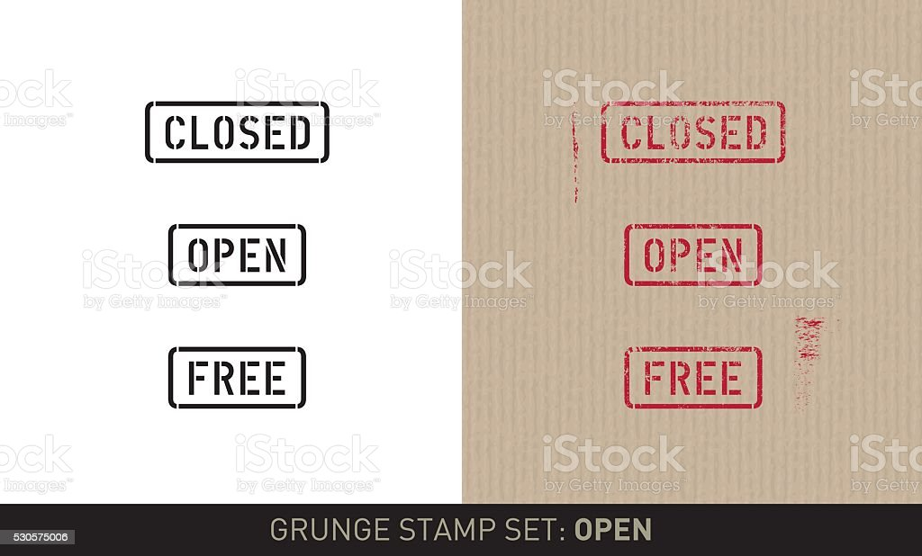 Stencil stamp set: open / close (plain and grunge versions) vector art illustration