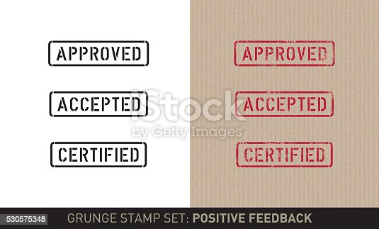 Set with three stencil stamps for positive feedback saying: