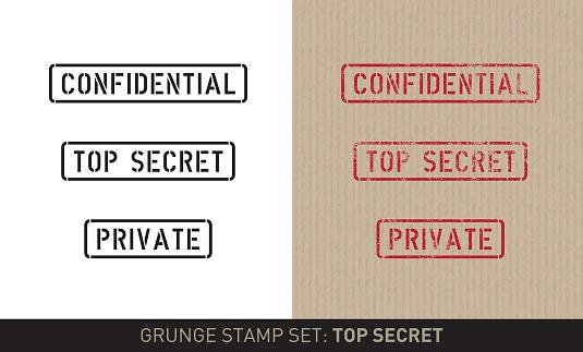 Stencil stamp set: top secret (plain and grunge versions)