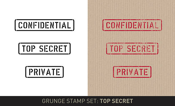 "Stencil stamp set: top secret (plain and grunge versions) Set with three stencil stamps for privacy instructions saying: ""Confidential"", ""Top secret"" and ""Private"". The set includes renderings in a plain black and white and a red grunge stamp version in on brown pack paper. confidential stock illustrations"