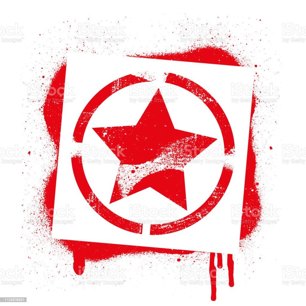 Vetores De Símbolo Da Estrela De Estêncil Grafite Vermelho