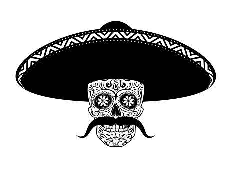 Stencil Sugar skull in hat with a mustache