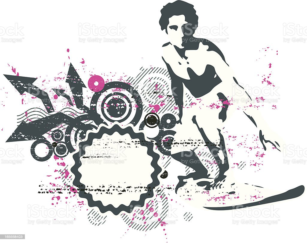 stencil surfer royalty-free stock vector art