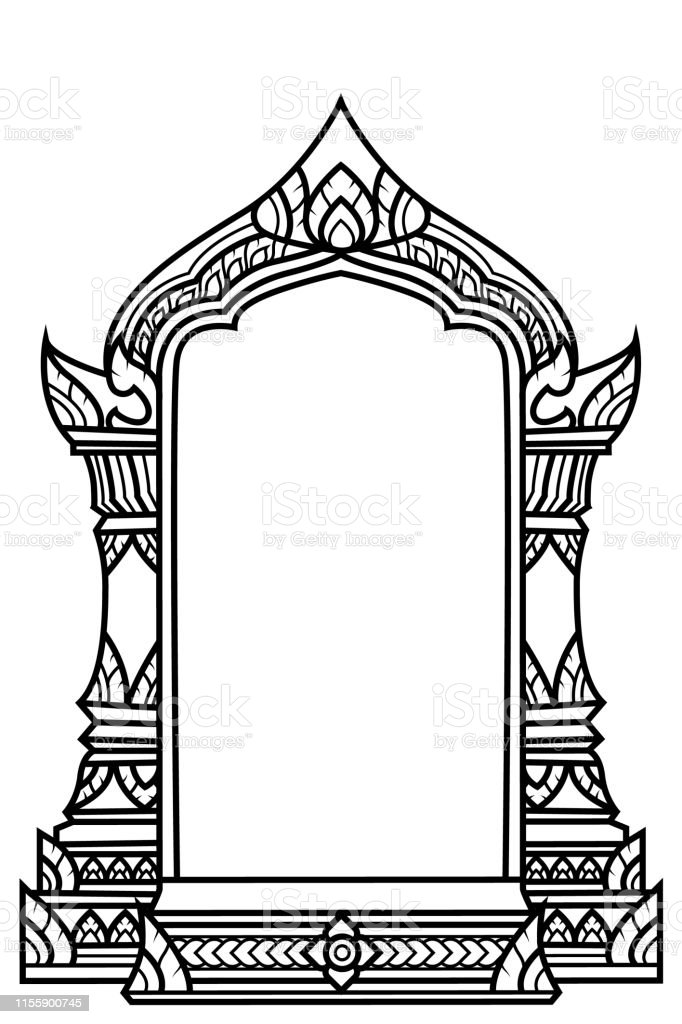 Stencil Temple Arch Traditional Or Vintage Design Stock