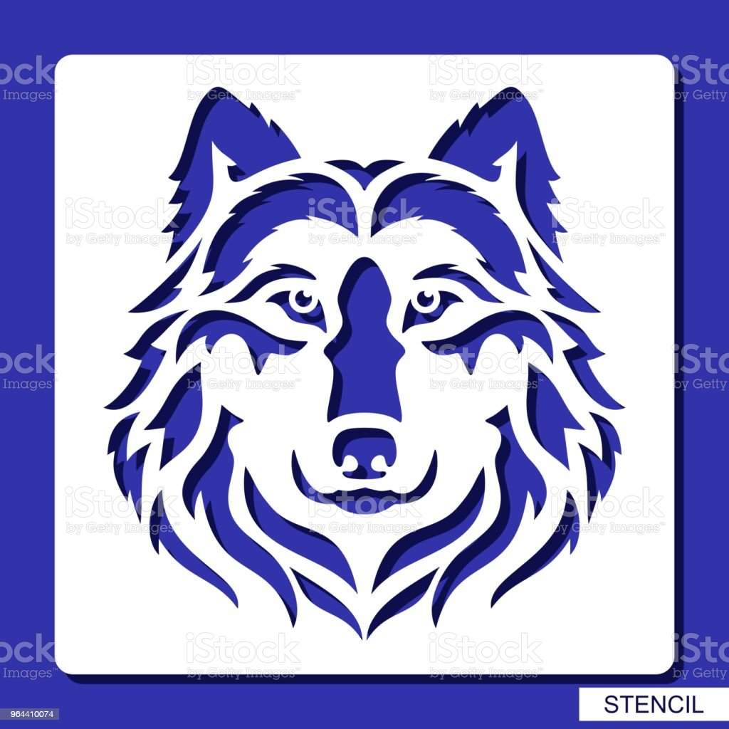 Stencil. Wolf face . - Royalty-free Animal stock vector