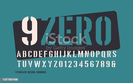 Stenciled bold weight decorative rounded san serif. Vector illustration.