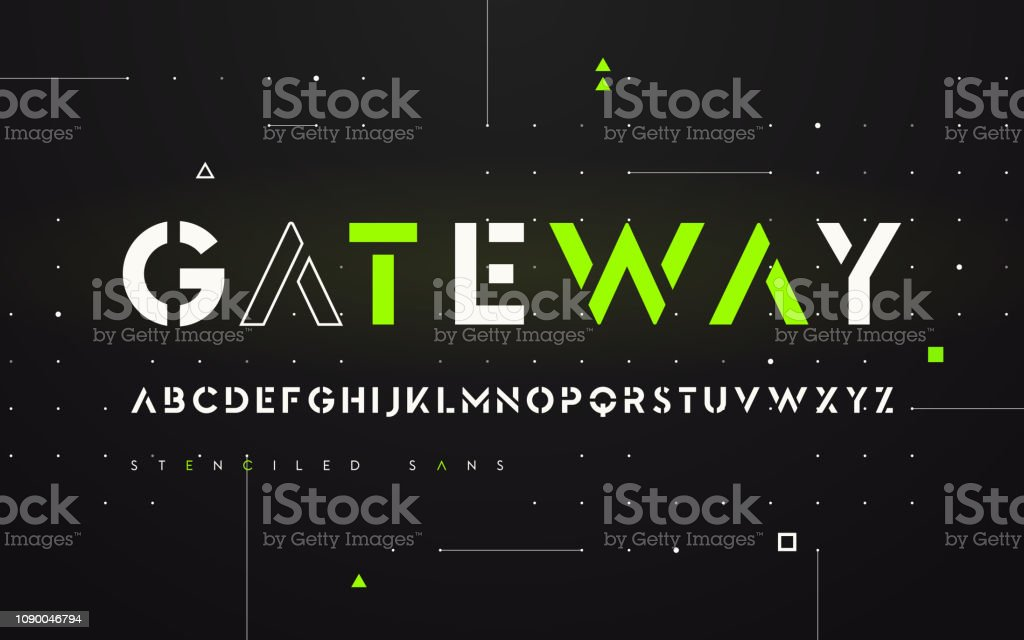 Pochoir alphabet, majuscules, typographie, serif san futuriste. pochoir alphabet majuscules typographie serif san futuriste vecteurs libres de droits et plus d'images vectorielles de a la mode libre de droits