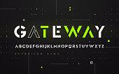 Stenciled futuristic san serif, alphabet, uppercase letters, typography. Vector illustration.
