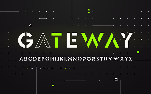 Stenciled futuristic san serif, alphabet, uppercase letters, typography.