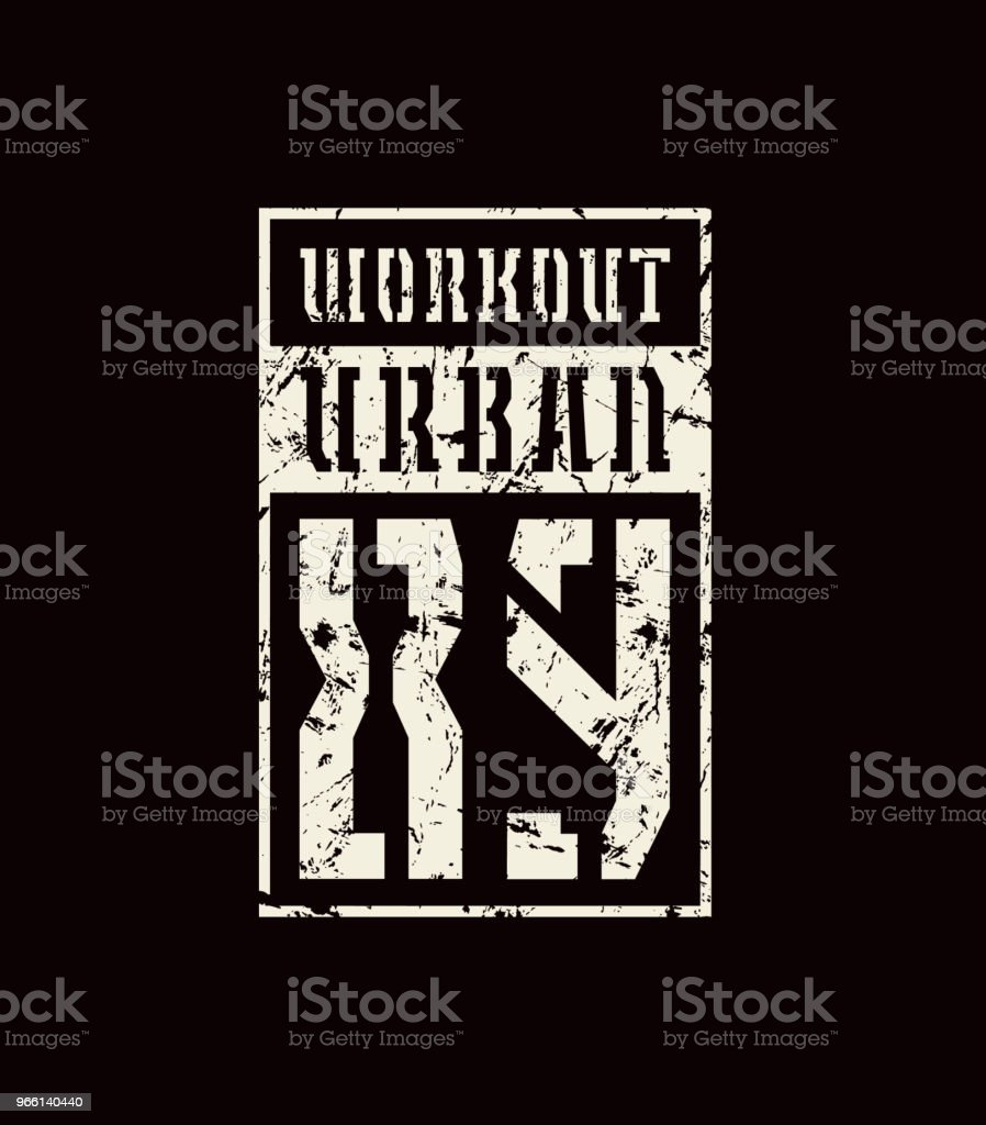 Stencil-plate emblem of workout - Royalty-free Athlete stock vector