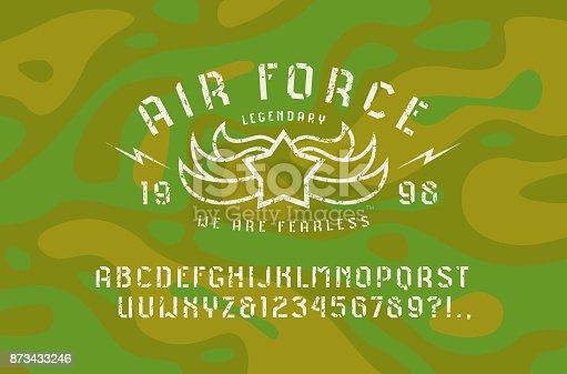 Stencil-plate sans serif font and air force emblem