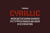 Stencil-plate sans serif font in military style