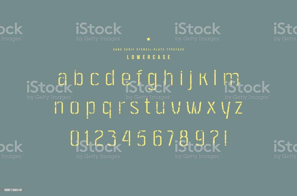 Stencil-пластина без засечек шрифт - Векторная графика Алфавит роялти-фри