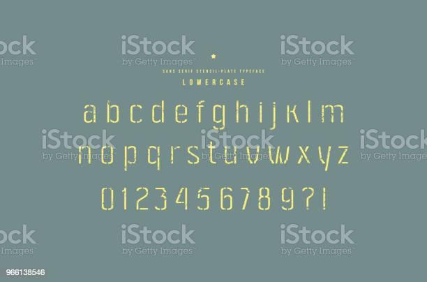 Stencilпластина Без Засечек Шрифт — стоковая векторная графика и другие изображения на тему Алфавит