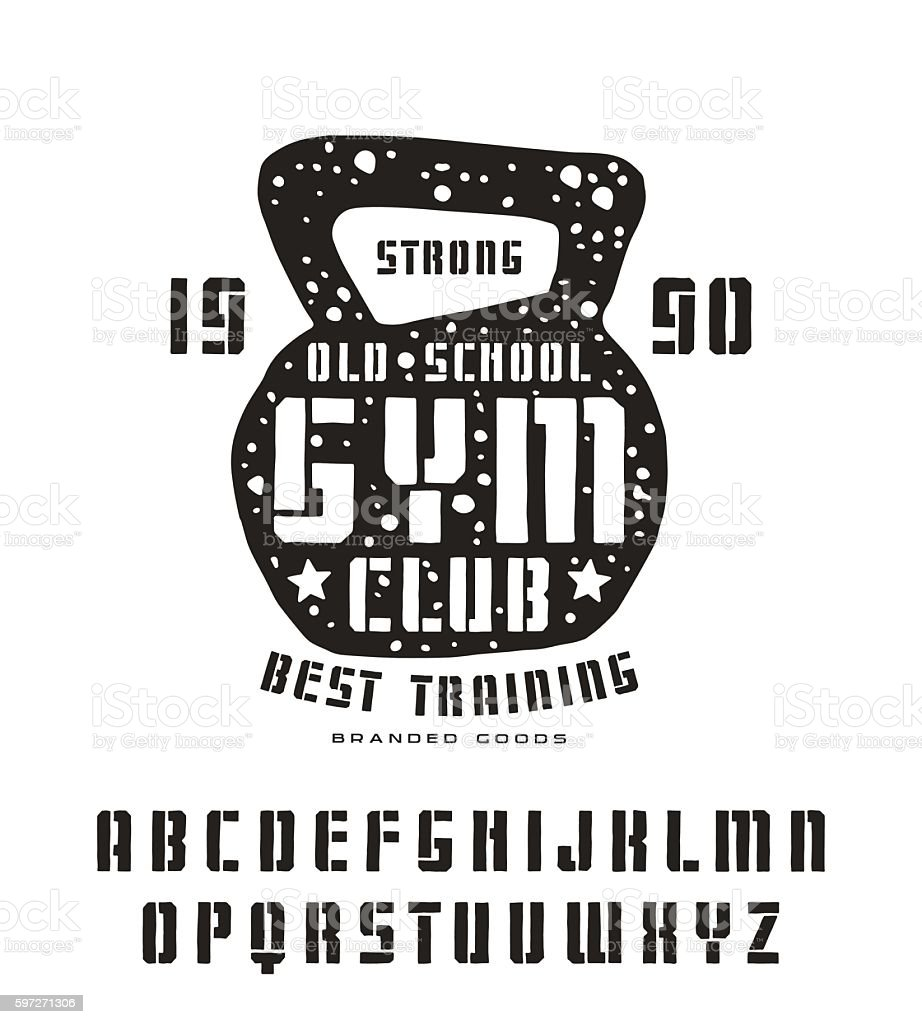 Stencil-plate sanserif font in the style of handmade graphics royalty-free stencilplate sanserif font in the style of handmade graphics stock illustration - download image now