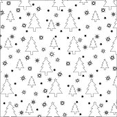 stencils Christmas trees and snowflakes. Seamless pattern