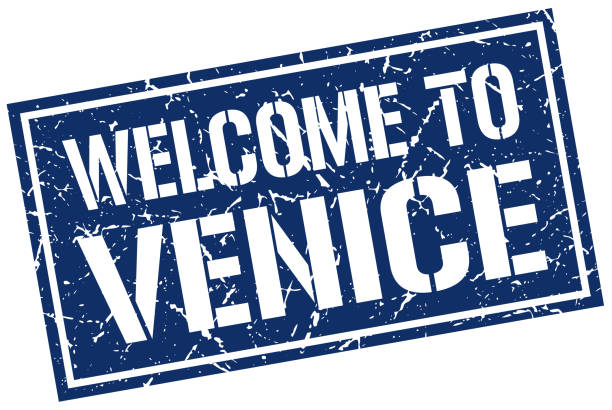 stencilstamp2WelcomeBlue welcome to Venice stamp blue silhouettes stock illustrations