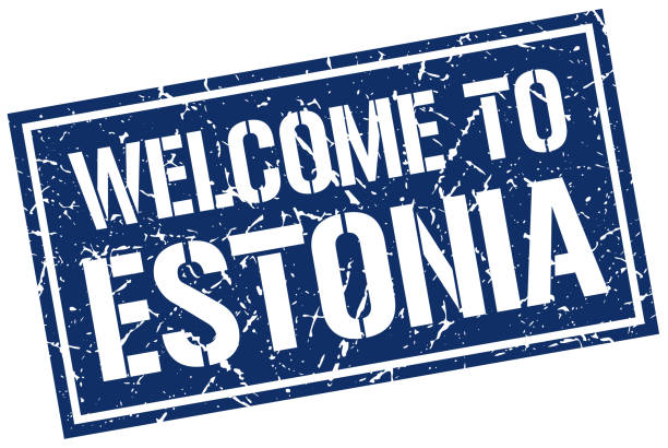 stencilstamp2WelcomeBlue welcome to Estonia stamp blue silhouettes stock illustrations